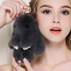 2017 Popular Play Dead Rabbit Keychain Real Rabbit Fur Pom Pom Key Chains Rabbit Bag Car Hanging Pendant Ornaments Jewelry Gifts