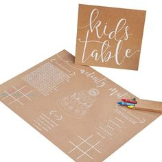 Wedding Kids Activity Kit// Rustic Country// Wedding Party// Kids Activity Pack// Activity Mat// Wedding Ideas// Kids Table// Tableware - Page 3 of 31 - Wedding Dream Kids Table Wedding, Wedding With Kids, Our Wedding, Party Wedding, Kids Wedding Activities, Activities For Kids, Pack Of Crayons, Activity Mat, Wedding Ideas