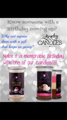 Jewelry in Candles make the best birthday gift . 2 in 1. Candle , Tart or Body butter with a piece of jewelry !