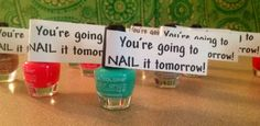 You're going to nail it tomorrow! Encouragement nail polish gift- Cheer camp gift by barbra Gymnastics Gifts, Cheerleading Gifts, Volleyball Gifts, Cheerleader Gift, Softball, Cheer Bows, Volleyball Team, Cheer Tryouts, Football Cheer