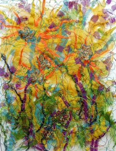 """Created with fabrics, fibres, threads, free motion machine stitching and water soluble stabilizer. 5"""" x 7"""" """"Wild Spring"""""""