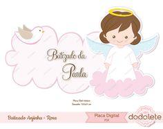 Placa Batizado Anjinho Rosa