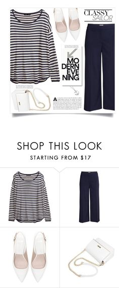 """""""Marine Layer: Striped Shirts"""" by dolly-valkyrie ❤ liked on Polyvore featuring H&M, Zara, Karen Walker and stripedshirt"""