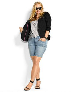Have your trimmest, slimmest summer in our Bermuda shorts with Tighter Tummy Technology. In flattering and casual light wash denim, this warm-weather essential features a built-in tummy support panel and a hidden elastic waist to eliminate gapping. Four pockets, button & zip fly closure and belt loops. lanebryant.com