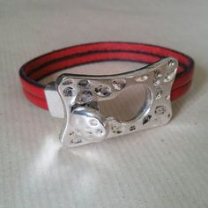 Red leather bracelet by BeadyAyeJewellery on Etsy