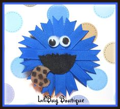 LiliBug COOKIE MONSTER Sesame Street Hair Clip by LiliBugBoutique