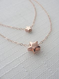 Double rose gold star necklace