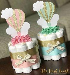 Hot Air Balloon Diaper Cake Baby Shower by ThePoshToosh on Etsy