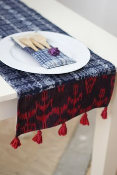 Table runner made from handwoven Guatemalan textiles on Etsy, US$29.00