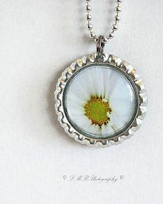 Bottle Cap Pendant Necklace Handmade White by LMRPhotography2, $8.00