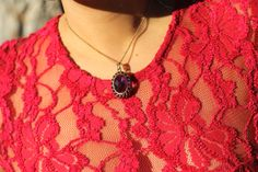 14k Yellow Gold Amethyst Pendant Necklace - StyleAt30 - http://www.styleat30.com/stylishsophisticated-delicious-azu-restaurant/