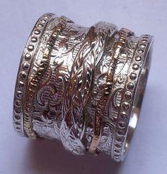Spinner ring silver & gold BOHO ring