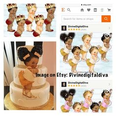 Afro puffs baby shower cake, download image at Etsy from Divinedigitaldiva and create edible image