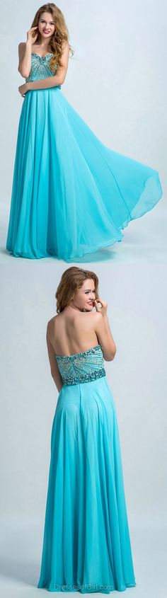 Sweetheart Chiffon Long Formal Dresses,  Beading Blue Party Gowns, Discount Prom Dressses