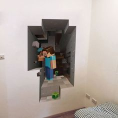Minecraft 3D Creeper Fathead style wall art decal vinyl design Cartoon Gamer PC Gaming Xbox birthday kids youth boys