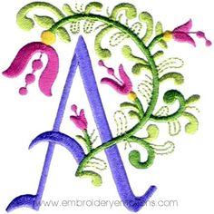 Floral Alphabet Machine Embroidery Designs