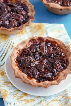 Kentucky Bourbon Pecan Pies. Recipe makes 6 (4-inch) mini pies. | urbanbakes.com