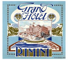 Rimini and Riccione on luggage labels… Vintage Beach Posters, Vintage Menu, Rimini Italy, Vintage Hotels, Luggage Labels, Retro Vector, Vintage Typography, Grand Hotel, Belle Epoque