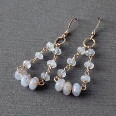 Multi Stone Earrings, Rainbow Moonstone, Blue Chalcedony, Gold Fill, Gift for Her