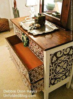 DIY Painted Furniture Moorish Fleur de Lis Moroccan Stencil by Royal Design Studio via Unfilded Blog