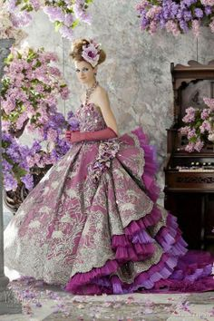 Purple Wedding Ball Gown Ballgown Dress Lace Pink