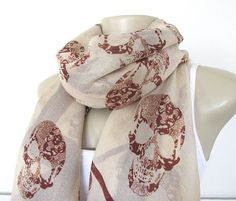 Skull Scarf - Taupe and Rust Skull Large Fashion Scarf