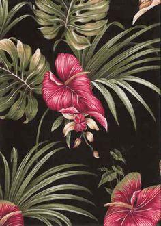 10lina Tropical Hawaiian orchid & anthurium flowers, cotton non-upholstery barkcloth fabric. See more fabrics at: BarkclothHawaii.com
