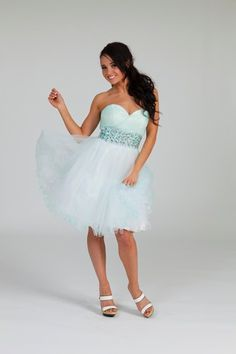 Cute short prom dress from Crystal Breeze.