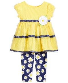 Sweet Heart Rose Baby Girls' 2-Piece Yellow Dress & Floral-Print Leggings Set