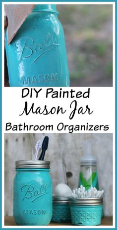 Add some cottage charm to your bathroom with these easy to make Painted Mason Jar Bathroom Organizers!