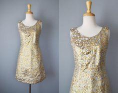 Vintage 60s Dress // 1960s Metallic Lamé Polka Dot Cocktail Dress // Small