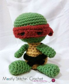 PLEASE NOTE YOU ARE NOT PURCHASING A FINISHED ITEM!!!!!!!!!!  NO REFUNDS WILL BE ISSUED ONCE THE PATTERN HAS BEEN SENT  I still remember coming home from school grabbing a snack and watching my favorite afternoon super heroes! It was Tubular….sorry….The Teenage Mutant Ninja Turtle have always been one of my favorites!! And now I can share my turtle love through crochet. If the turtle is for you or for a fan in your life I am sure this pattern will be a hit! You can use this pattern to make…