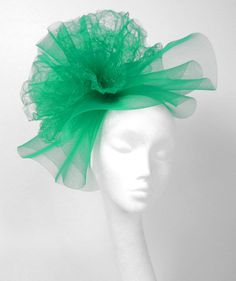 Jade Green Fascinator Hat for Weddings Races and by Hatsbycressida...