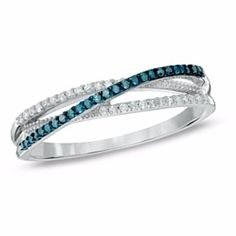1/8 Ct Enhanced Blue And White Real Diamond Orbit Ring In 10K White Gold by JewelryHub on Opensky