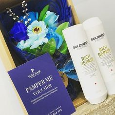 Another fabulous raffle prize a bouquet of soap flowers  a Treatment and Finish Pamper Package Voucher with Goldwells Rich Repair Shampoo and Conditioner. Lots of Fabulous prizes for our Raffle on the 16th. #raffle #hairsalon #hairdressers #raffleprize #prizes #shampoo #conditioner #soapflower #sherborne #dorset