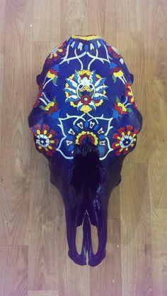 Painted Cow Skull Large animal skull royal blue boho by WestHound