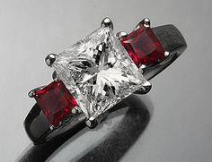 3.03 tcw Bridal Princess Cut 3-Stone Diamond Engagement Ring White Gold 14K