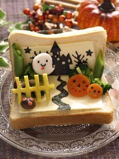 Halloween scene pop-up toast art (decopan) Halloween Appetizers, Halloween Treats, Halloween Scene, Halloween Breakfast, Food Art For Kids, Kawaii Bento, Unicorn Foods, Food Carving, Bento Recipes