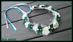 white teal rose crown headband cyan blue Halo bridal headpiece flower girl bridesmaid rustic wedding baby's breathe