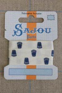 11 mm cotton ribbon ecru base blue thimbles motif