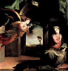 Доменико Беккафуми . «Благовещение» 1545-1546  Дерево, темпера. Сиена. Сан Мартино.
