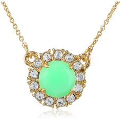"""kate spade new york """"Secret Garden"""" Green Pendant Necklace, 16"""" ($58) ❤ liked on Polyvore featuring jewelry, necklaces, kate spade necklace, green jewelry, green necklace, kate spade and green pendant"""