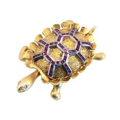 1960s Ruby Gold Turtle Pin | From a unique collection of vintage brooches at https://www.1stdibs.com/jewelry/brooches/brooches/