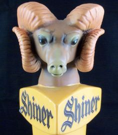 """SOLD!  We have more barware and tap handles available.  Click on the picture to see more.  Shiner Bock Angry Ram Head 11"""" Beer Tap Bar Handle Wooden Figural RARE Man Cave"""
