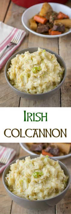 Irish colcannon is a very tasty mashed potato with cabbage, real Irish butter, onions and cheddar cheese. So essentially Irish and very comforting.