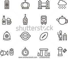 UK icons - stock vector
