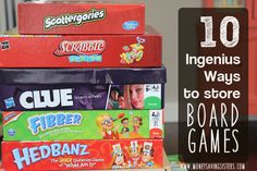 10 Ingenius Ways to Store Board Games – Money Saving Sisters Board Game Organization, Board Game Storage, Organization Skills, Playroom Organization, Board Games, Organizing Toys, Playroom Ideas, Family Game Night, Family Games