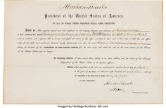 """Abraham Lincoln Signed Appointment countersigned by Salmon P. Chase as Secretary of the Treasury.  City of Washington, April 13, 1861. Lincoln appoints Stephen Brooks to the post of """"Surveyor of the Customs for the District of Middletown in the State of Connecticut."""""""