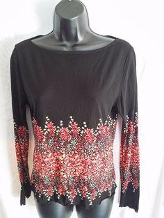 Kasper Separates long sleeve nylon floral blouse Black size Medium #KasperSeparates #Blouse #Casual
