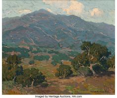 Edgar Alwin Payne (American, 1883-1947). California Foothills with San Gabriel Mountains in the Distance. Oil on canvas...